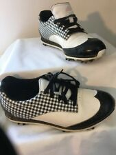 Adidas Women's Golf Shoes Sz 6 White Black Plaid Wing Tips Fit Foam Soft Spikes