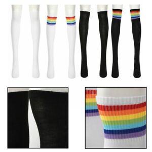 Winter Women's Rainbow Thigh Leg Stockings Over Knee High Long Boot Socks 53cm