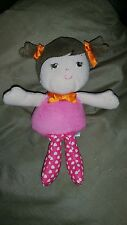 Plush Doll Rattle Garanimals Brown Pigtails Pink White Hearts Ribbons 7.5 Inch