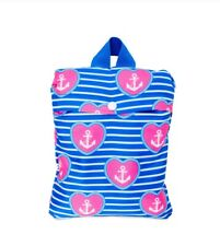 No Boundaries Packable Backpack Anchor's Striped w/ Heart Shaped Prints New