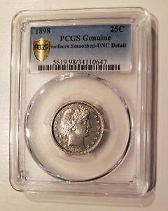 Barber Quarter USA  25 Cents 1898  PCGS  Genuine UNC Gold Shield Silver