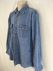 Lands End Mens L 16-16 1/2 Faded Blue Cotton Denim Shirt