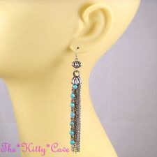Vintage Deco Burnt Silver Turquoise Gems Ethnic Gypsy Statement Tassel Earrings
