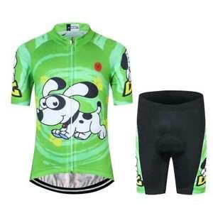 Kids Cycling Jersey Set Youth Boys Girls Green Bike Shirt Padded Shorts Kit Dog