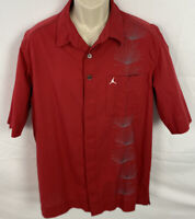 NIKE AIR JORDAN Mens Button Up Cotton Shirt Embroidered Sz XL Red/Gray/White EUC