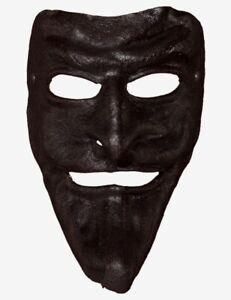 Venetian Mask Black Leather Pantalone Made In Venice, Italy!