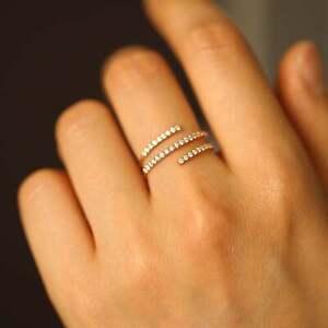 Diamond Spiral Ring, Screw Diamond Ring, Minimalist Diamond Ring