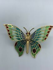 18k Gold Plique-A-Jour Multi-Color Enamel Butterfly Brooch Pin w/ Movable Wings