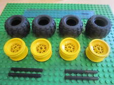 Lego 4 x YELLOW Balloon Wheels 43.2 x 28 S + Pneumatic Rubber Tyres + 4 Axles