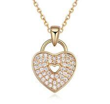 """Para mujeres damas """"bloqueado"""" Amor Corazón Collar Pendiente Cristal Piedras Oro Reino Unido"""