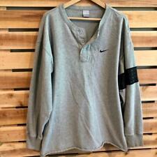 EUC Mens Gray Nike Swoosh Logo Cotton Henley Long Sleeve Shirt XL