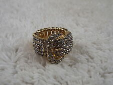 Goldtone Faux Buckle Ring - Adjustable Stretchband Size 7-10  (C41)