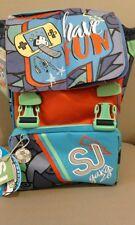 Schoolpack SJ friends con patella magnetica- Zaino+ astuccio 3 zip col blu/verde