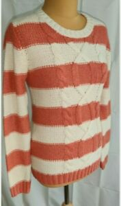 Fat Face Jumper UK 8 Cream Stripe/Colour Block Wool Mix Chunky Cable Knit lounge