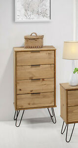 Waxed Pine Narrow 4 Drawer Chest Dresser Bedroom Storage Cabinet on Hairpin Legs