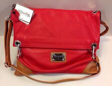 NEW VALENTINA RED LEATHER MESSENGER CROSS BODY HANDBAG PURSE MADE IN ITALY