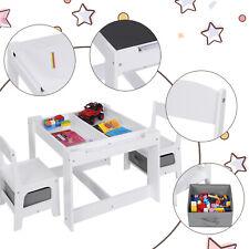 EUGAD 3 in 1 Kindertisch mit 2 Stühlen Kindersitzgruppe mit Stauraum Malttisch