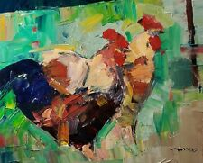 JOSE TRUJILLO Oil Painting 16X20 CHICKEN ROOSTER FARM ANIMAL LARGE CANVAS NR