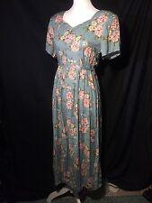Vintage Vtg Erika Studio Womens Floral Maxi Medium M Prairie Belted Dress 70s