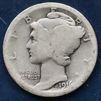 USA 1916 Mercury Dime Philadelphia 10 Cent Silber Selten Gute Erhaltung #10093