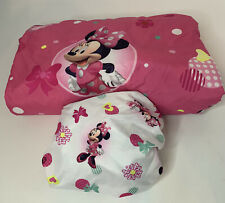 3 Piece Minnie Mouse Disney Bedding Set Girl Toddler Comforter Fitted Flat Sheet