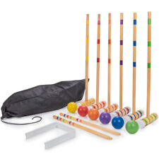 Six-Player Travel Croquet Set with Drawstring Bag | Family-sized Set
