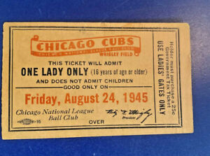 VTG 1945 Wrigley Field LADIES DAY EXCHANGE TICKET Chicago Cubs RARE