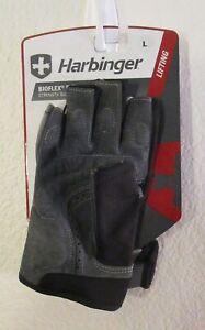 NWT Harbinger Bioflex Elite Mens Strength Weight Lifting Gloves L Gray MSRP$35