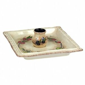 """Ceramic Hors d'oeuvre Plate with Toothpick Holder 7.75"""" x 7.75"""", Grasslands Road"""