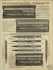 1924 PAPER AD Chicago Safety Fountain Pen Evrda Wahl Green Gold Filled