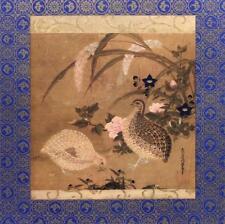 Japanese 15th C Artist Tosa Mitsuoki Quails Flowers Metallic Litho 1964 #S421