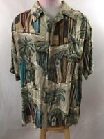 Pacific Blue USA mens Hawaiian shirt size L large rayon surfboard palm tree tan
