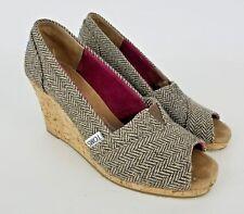 Tom's Chevron Open Toe Wedges Slip On Women's Heels Shoes Size 6.5