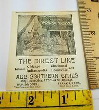 Old 1896 Ad Advertising Monon Route Direct Line Horse Wagon Fare Trip Chicago IL