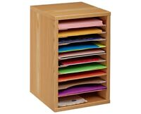 AdirOffice Wood 11 Compartment Vertical Paper Oak Desktop Sorter Organizer