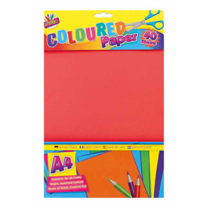 Bright Coloured Paper 40 Page Colour A4 Kids Drawing Craft Pad