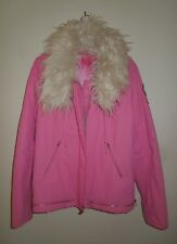 NWT Juicy Couture Pink Bomber w/Detachable Faux Fur Collar XL