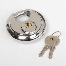 Stainless Steel 70mm Round Disc Storage Pad Lock / 2 Keyed