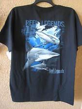 REEL LEGENDS MEN'S LARGE BLACK SHARKS T-SHIRT (NWT) SHORT SLEEVE