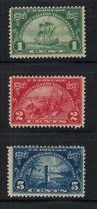 1924 Huguenot Walloon Sc 614 615 616 MLH OG set  CV $21
