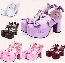 Many Jane Lolita Women Platform Buckle Strap Bowknot Decor High Block Heel Shoes