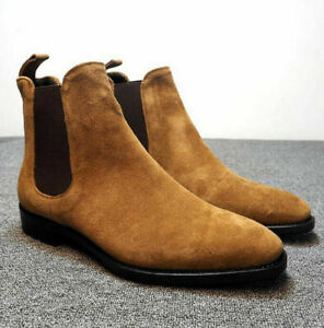 Men's Suede Ankle Chelsea Boots Retro Dress Formal Casual Elegant High Top Shoes