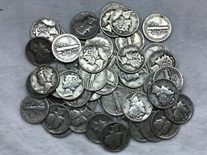 ***53***2 Random UNC 1944 Mercury Dimes 90% Silver Circulated