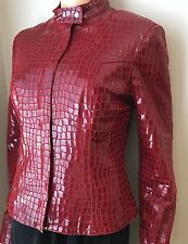 CACHE Genuine Leather Motorcycle JACKET Red Glossy Crocodile Pattern