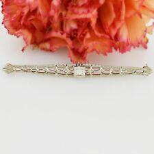 10k White Gold Antique Filigree Diamond Pin