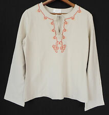 New Soft Surroundings Top Long bellSleeve Hippie Beige Cotton Size M