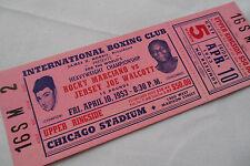 ROCKY MARCIANO vs JERSEY JOE WALCOTT__1953__Original__BOXING TICKET unused
