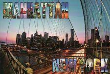 Manhattan from the Brooklyn Bridge, New York City, NY, Suspension Br. - Postcard