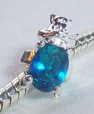 Blue Rhinestone December Birthstone Chipmunk Ring Bead for Silver Charm Bracelet