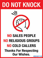 DO NOT KNOCK NO SALES PEOPLE -- WITH VARIOUS SIZES AND SUBSTRATE OPTIONS